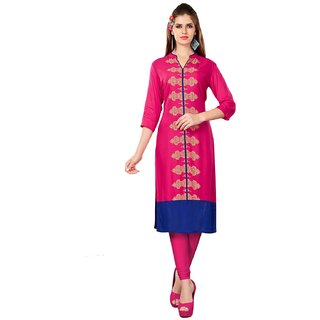 Swaron Women's Pink and Blue Printed Rayon Stitched Long Kurti