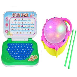 New Pinch Combo of English Mini Laptop with Musical Flash Drum for kids