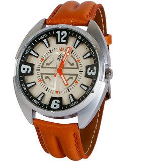 LUBHNA Men's Brown Formal Round Watch