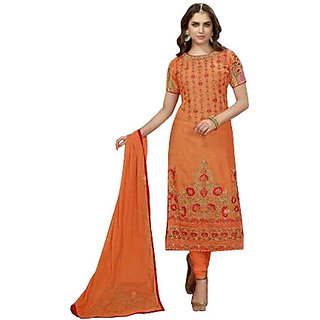 Designer Party Wear Straight Long Cotton Salwar Suit Dupatta  Material  With Heavy Embroidery For Women