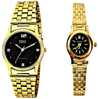 Golden Chain And Black Dial Men And Ladies Watches