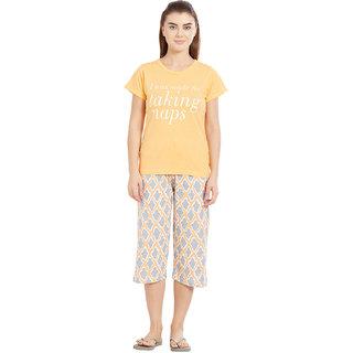 Velvet by night Yellow Printed 100 Cotton Sinker Round Neck Top  Capri Set For Women