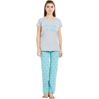 Velvet by night Grey Printed Cotton Lycra Round Neck Top  Pyjama Set For Women
