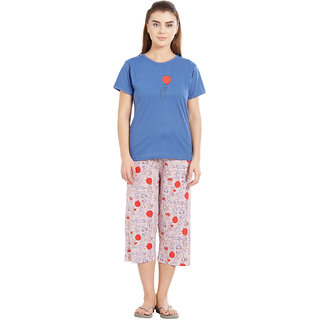 Velvet by night Blue Printed 100 Cotton Sinker Round Neck Top  Capri Set For Women