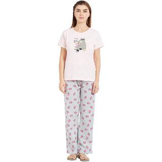 Velvet by night Light Pink Printed 100 Cotton Sinker Round Neck Top  Pyjama Set For Women
