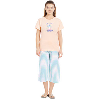 Velvet by night Light Peach Printed 100 Cotton Sinker Round Neck Top  Capri Set For Women
