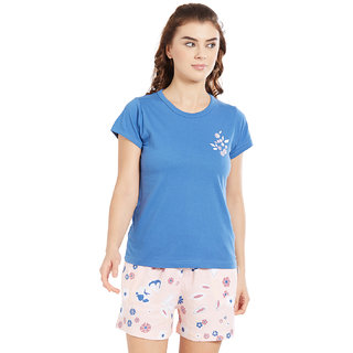 Velvet by night Blue Solid 100 Cotton Sinker Round Neck Top  Shorts For Women