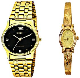 Black Dial Golden Chain Men And Golden Bangle Ladies Wa