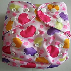Tinytots Reusable Nappy washable Chemical free leak free Pocket Cloth Diaper - HEARTS print with microfiber insert