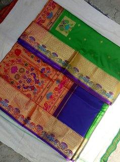 Anushka Collection Rama Green Colored Rich Silk Famous Yeola Paithani