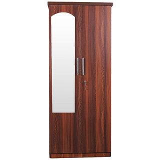 Caspian Streak Textured 2 Door Wardrobe With Mirror