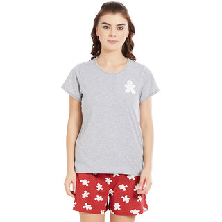 Velvet by night Grey Solid 100 Cotton Sinker Round Neck Top  Shorts For Women