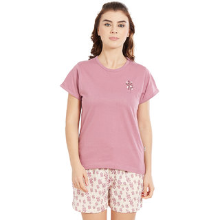 Buy Velvet by night Purple Solid 100 Cotton Sinker Round Neck Top Shorts  For Women Online   ₹2299 from ShopClues f578c2ea0