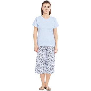 Velvet by night Light Blue Printed 100 Cotton Sinker Round Neck Top  Capri Set For Women