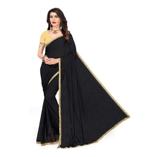 Aika Womens Blooming Georgette Lace Crash Work Saree Black Color-S066-Kery Black