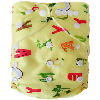 Tinytots Reusable  Nappy washable Chemical free leak free Pocket Cloth Diaper with microfiber insert   - yellow alphabets
