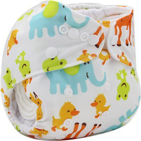 Tinytots Reusable  Nappy washable Chemical free leak free Pocket Cloth Diaper with microfiber insert   - colored animals