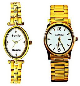 LADIES DESIGNER(WHITE DIAL) AND GOLDEN CHAIN (WHITE DIA