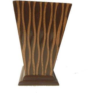 Adaspo Handmade Crafted Wooden Flower Vases ( Brown 22X13X13CM )