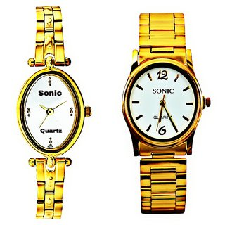 70a09a78546a Buy LADIES DESIGNER(WHITE DIAL) AND GOLDEN CHAIN (WHITE DIAL) MEN WATCHES  Online - Get 83% Off