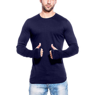 gWOWg Mens Fullsleeve Round Neck Navy Blue Cotton Tshirt