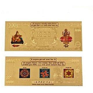 Gold Plated Kuber Lakshmi Dhan Varsha Currency Note