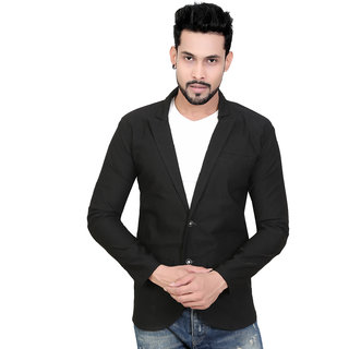 Conway Black Imported Cotton Blazer For Mens