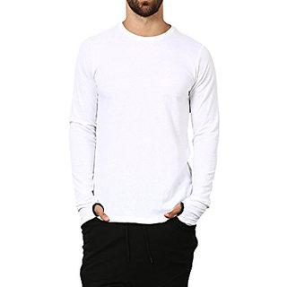 gWOWg Men's Full Sleeve Round Neck White Cotton Tshirt
