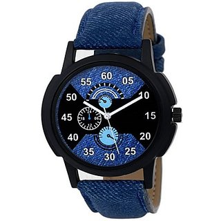 Blue Leather Sports Watch For Boys And Men By Varni Retail