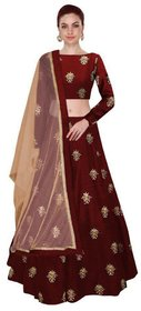 Maroon Bangalore Silk Circular Semi Stitched Lehenga For Girls  Womens By Omstar Fashion ( HEAVY)