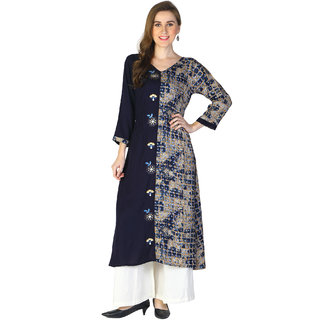 Shiloh Blue Rayon Printed Embroidered A-Line Kurta