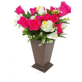 Adaspo Handmade Crafted Wooden Vase With 2 Flower Bunch (Brown- 45X39X39 CM )