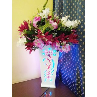 Adaspo Handmade Crafted Double Led Wooden Flower Vase With 2 Flower Bunch (White 75x50x50 CM )