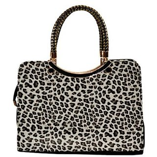 Starz Tiger Print Synthetic Tote Bag Black And Brown