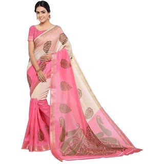 Yuvanika Multicolor Printed Cotton Saree With Blouse