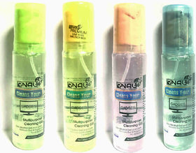 Multipurpose cleaning GEL spray kit with Microfibre cloth-100ml each(Old Rose,Ocean Breeze,Dry Leaf & Fresh Root)