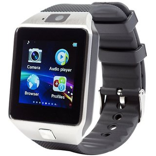 DZ09 Black & Silver Square Dial Water Resistant Touchscreen Smartwatch With Voice Calling and SIM Slot For Android & IOS