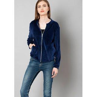 Rosella Semi winter Navy Blue Velvet Jacket
