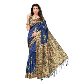 Pagazo Women's Blue Floral Tussar Silk Saree With Blouse