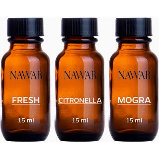 NAWAB essential aroma Diffuser oil(Mogra,Lemongrass,Eucalyptus-15ml each)