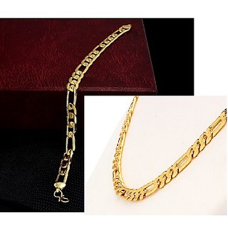 Combo of Sachin Chain and Braslet For Men's (22 and 7 Inches) 24k Gold Plated With Surprise Gift And 1 Year Warranty
