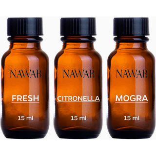 NAWAB essential aroma Diffuser oil(Fresh,Lemongrass,Citronella-15ml each)