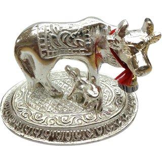 Cow and Calf Spiritual Showpiece Metal Silver - 1 Pc