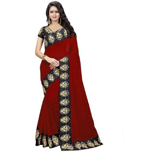 7105a7db55a1b Buy Febo Fashion Red Chanderi Cotton Kalamkari Print Saree With ...