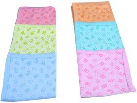 Wishkey New Born Baby Printed Cotton Handkerchief Set Of 6