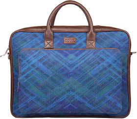 Zouk Vegan Leather and Jute/Khadi Astrick Abstract Unisex Laptop Bag - Blue