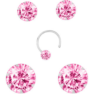 Nzone 92 5 Silver Pink Color Stud Earrings Set For Women S