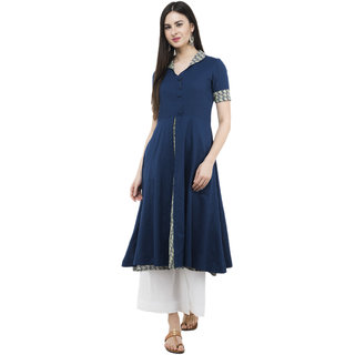 Meen Blue cotton double flared kurti