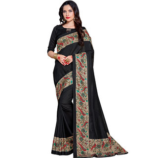 Samskruti Sarees Beautiful Black Designer Printed Crepe Saree