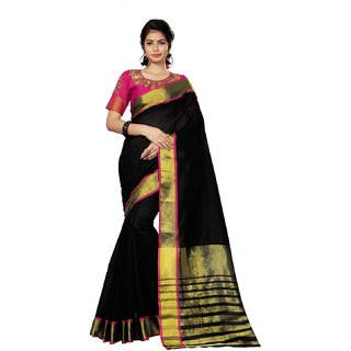Ruchika Fashion Women's Latest Cotton Silk Saree WIth Blouse Piece Material.